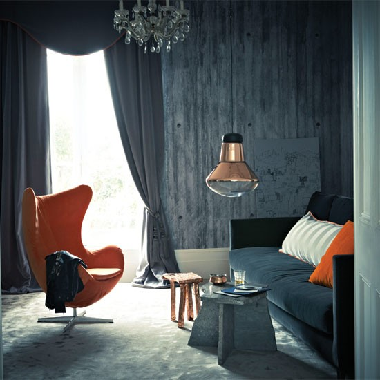Velvet And Copper Living Room