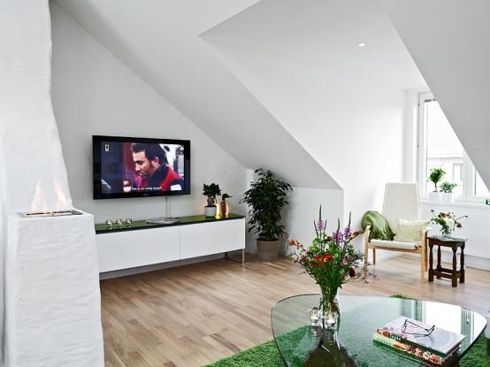 Very Modern Swedish Loft Design With Terrace