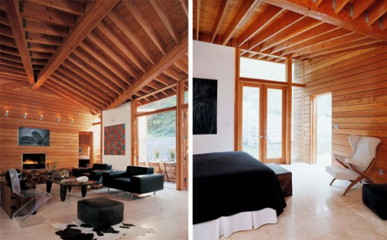 vhouse wood house interior