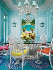 Vibrant Light Blue Dining Area