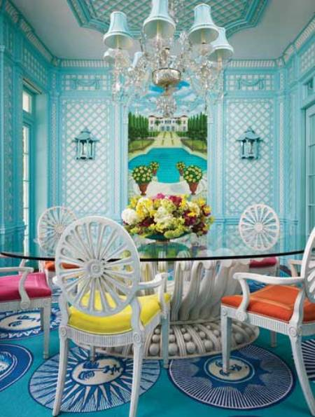Vibrant Light Blue Dining Area