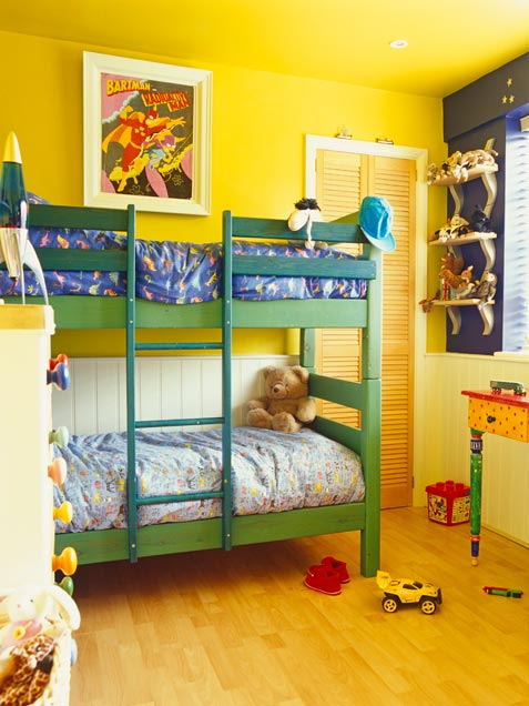 Vibrant Yellow Shared Kids Bedroom