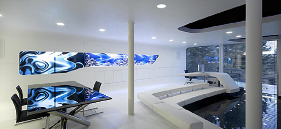 Futuristic interior of it entrepreneur 39 s home villa f by for Bureau high tech