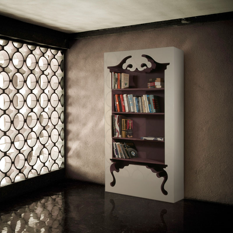 Vintage Bookcase Embedded Into a Modern Form