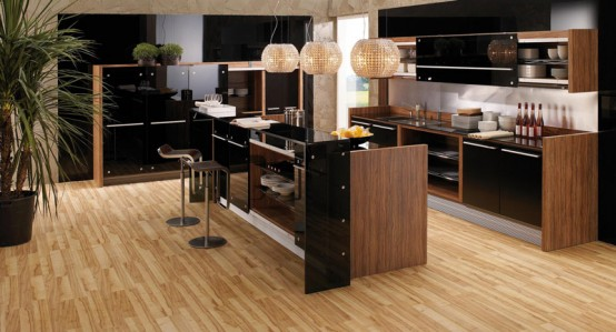 Vitrea Glossy Lacquer With Natural Wood Kitchen Design