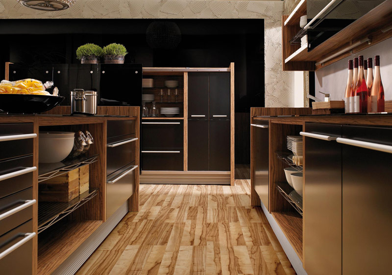 Glossy lacquer with natural wood kitchen design vitrea for Wood flooring kitchen ideas