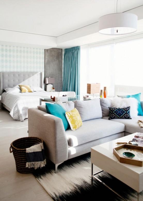 Vivacious bachelorette loft with a fresh color palette for Bachelorette apartment
