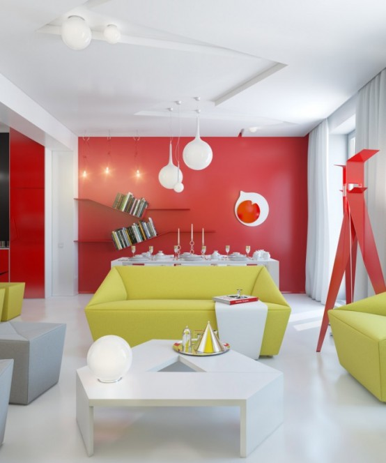 Vivacious Colorful Living Rooms Fun And Comfort: Vivacious Colorful Interior Design Of A Small Apartment