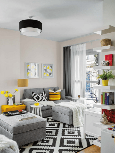 Vivacious malaga apartment design with ikea furniture and - Decoracion salon gris y blanco ...