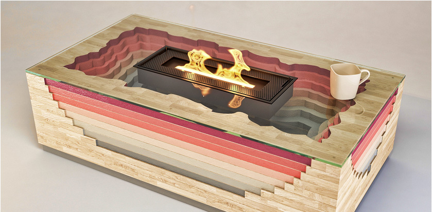 Colorful Volcano Inspired Fireplace