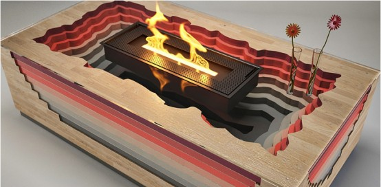 Volcano Inspired Fireplace