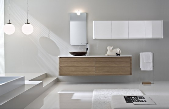 Walnut Bathroom Furniture With Rounded Corners Seventy