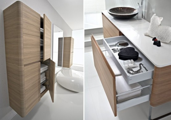 Walnut Bathroom Furniture With Rounded Corners – Seventy by Idea Group