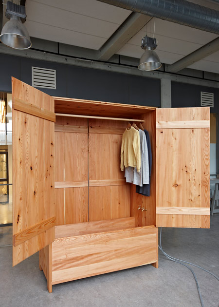 Larch Wood Wardrobe Combined With A Bathtub