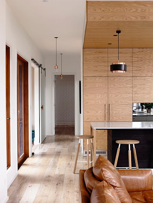 Warm Wood House Renovation With Leather And Copper Accents