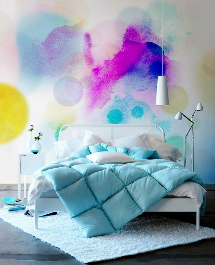 making a statement with colors 27 watercolor walls ideas digsdigs. Black Bedroom Furniture Sets. Home Design Ideas