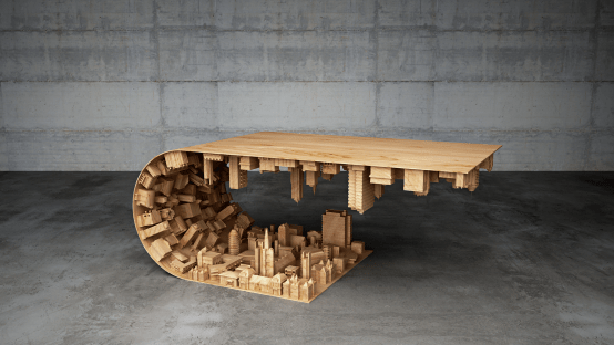 Wave City Coffee Table Inspired By The Movie Inception