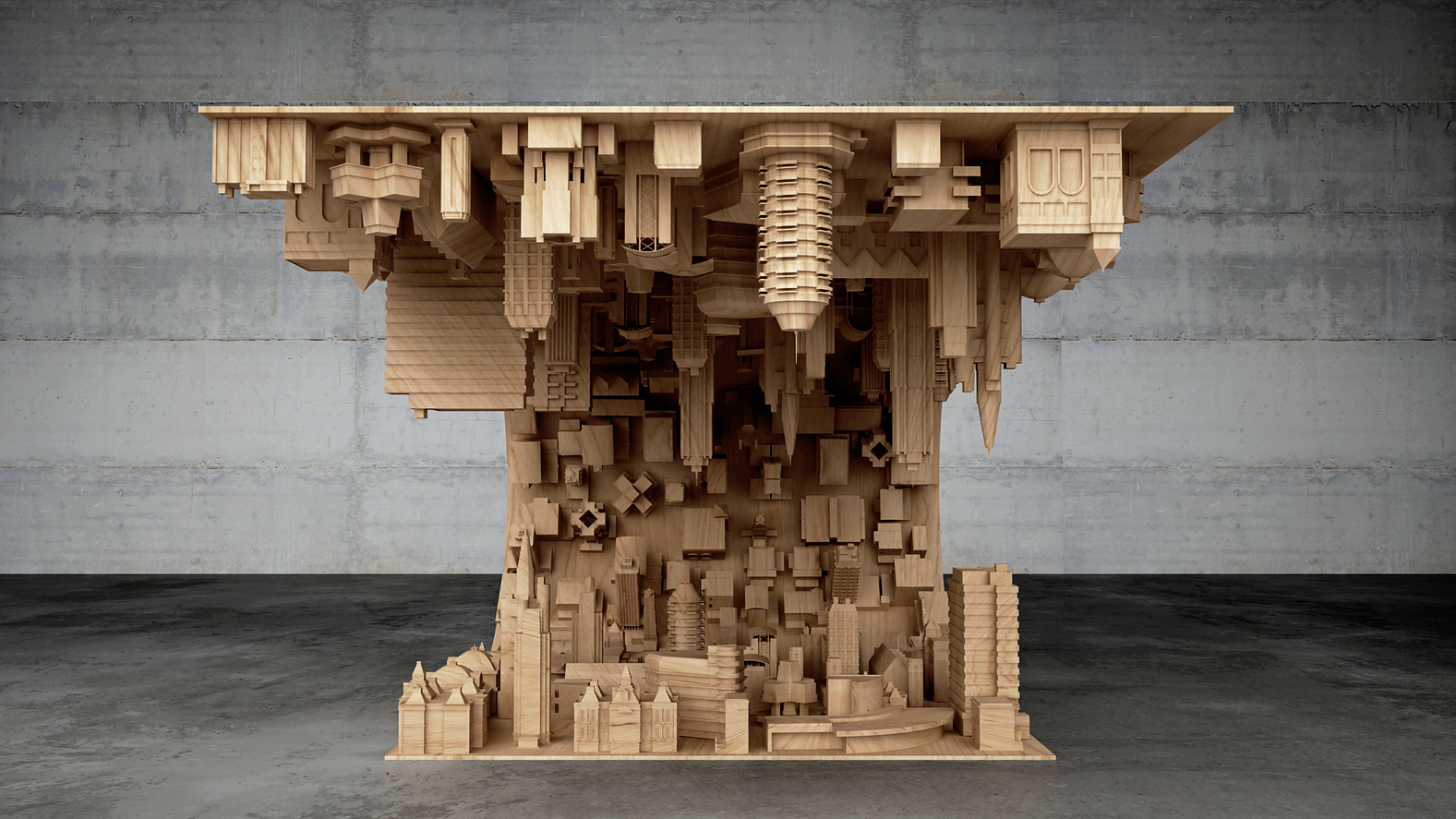 Picture Of wave city coffee table inspired by the movie inception  2