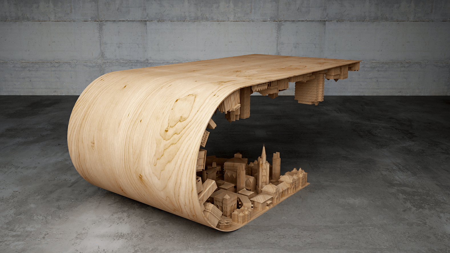 Picture Of wave city coffee table inspired by the movie inception  3