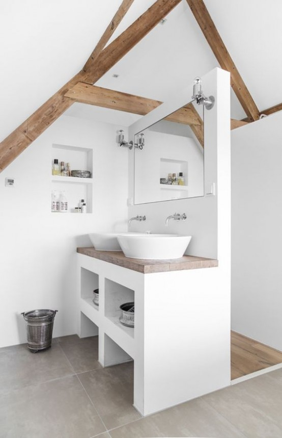 a modern neutral bathroom with white walls, wooden beams, a vanity with two sinks