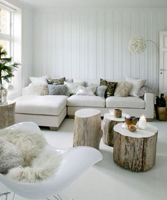 a variety of fluffy pillows make the living room very cozy and holiday-like