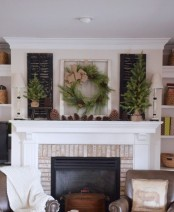 evergreen decor and mini trees plus pinecones are amazing for cozy and natural Christmas and holiday decor
