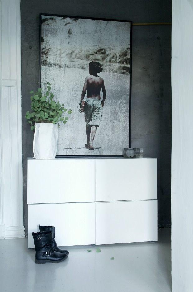 Simple IKEA Besta storage unit in a hallway