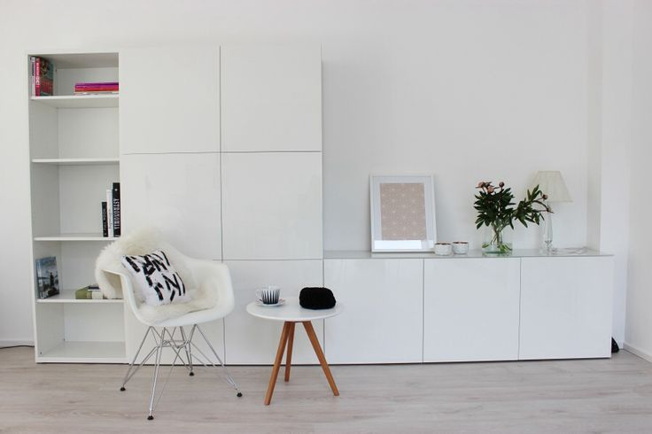 Stacked IKEA Besta units storage