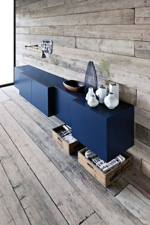 Creative blue IKEA Besta hanging storage