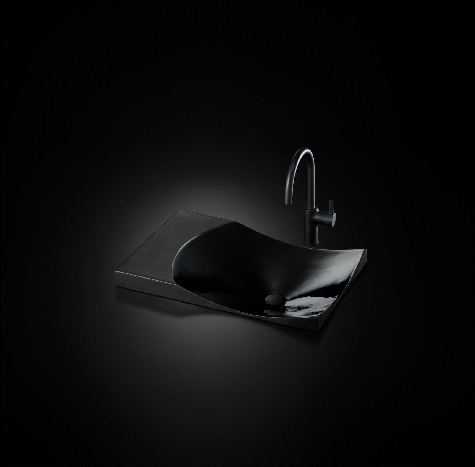 Black Lavatories and Faucets - Waza Noir from TOTO - DigsDigs