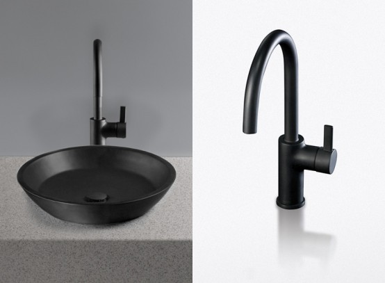 Waza Noir Black Lavatory And Faucet