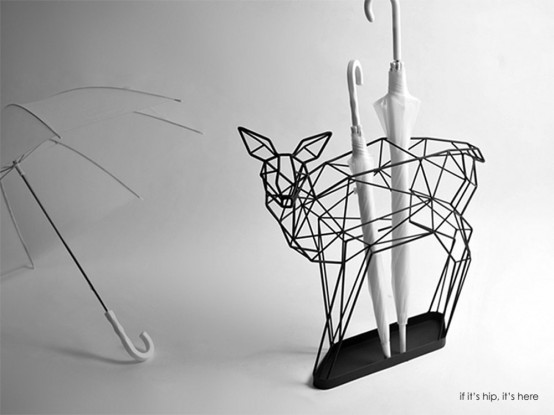 Whimsy Deer And Crane Umbrella Stands With Origami-Like Silhouettes