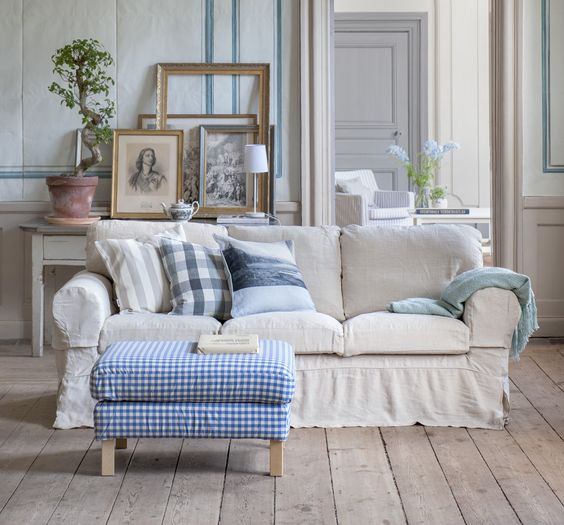 white Ektorp slipcover for a vintage home