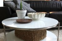 white IKEA Strind table for a modern living room