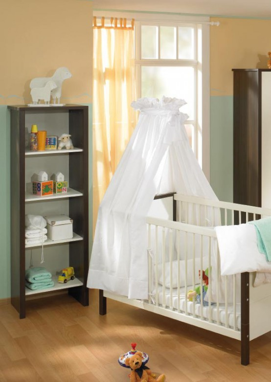 White And Wood Baby Nursery Furniture Sets By Paidi