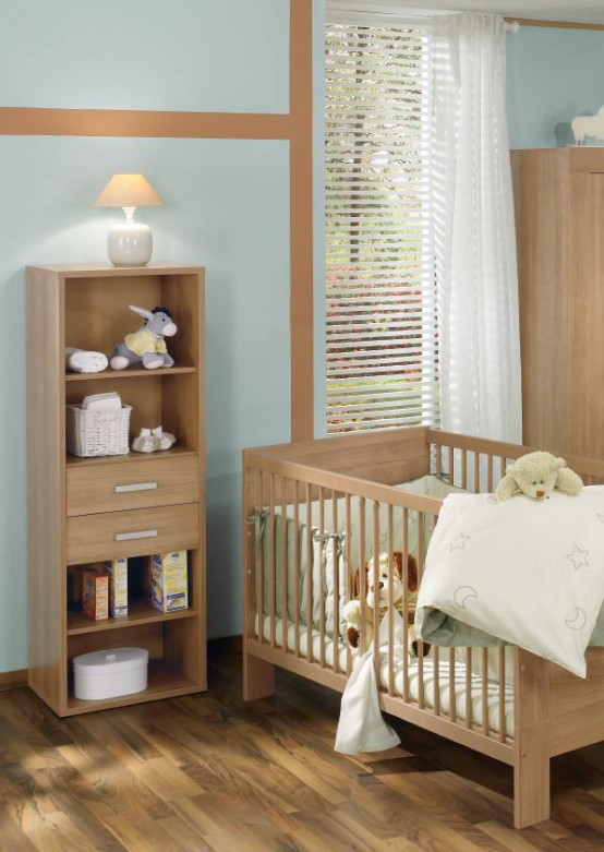 Awesome White And Wood Baby Nursery Furniture Sets By Paidi