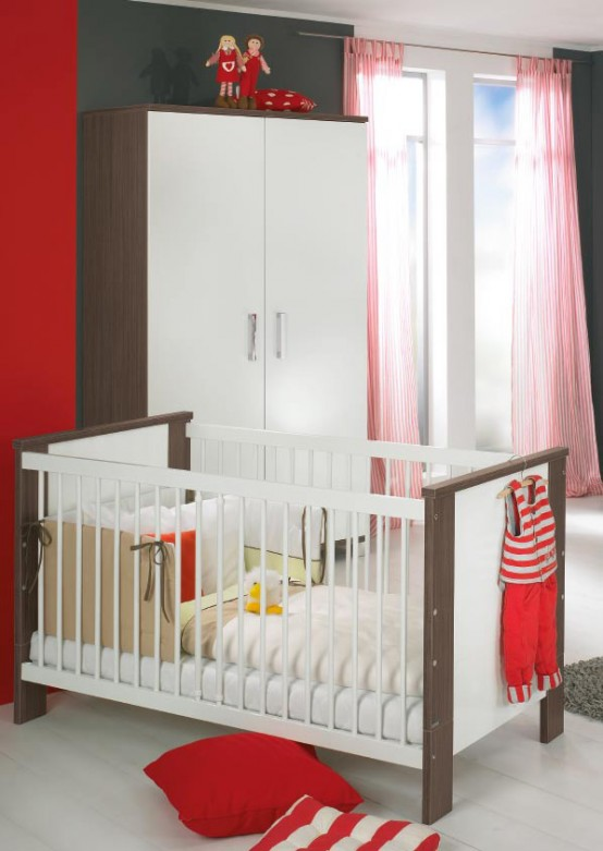 Schon White And Wood Baby Nursery Furniture Sets By Paidi