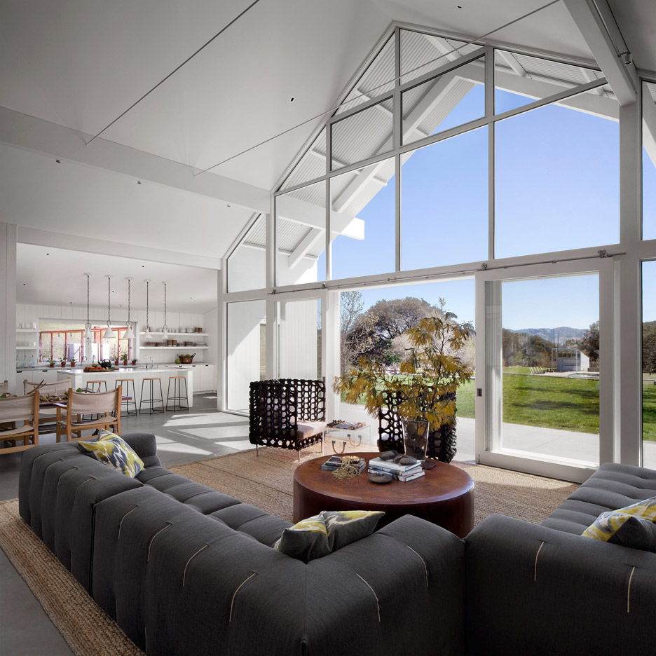 Picture Of white barn like house with modenr features  2