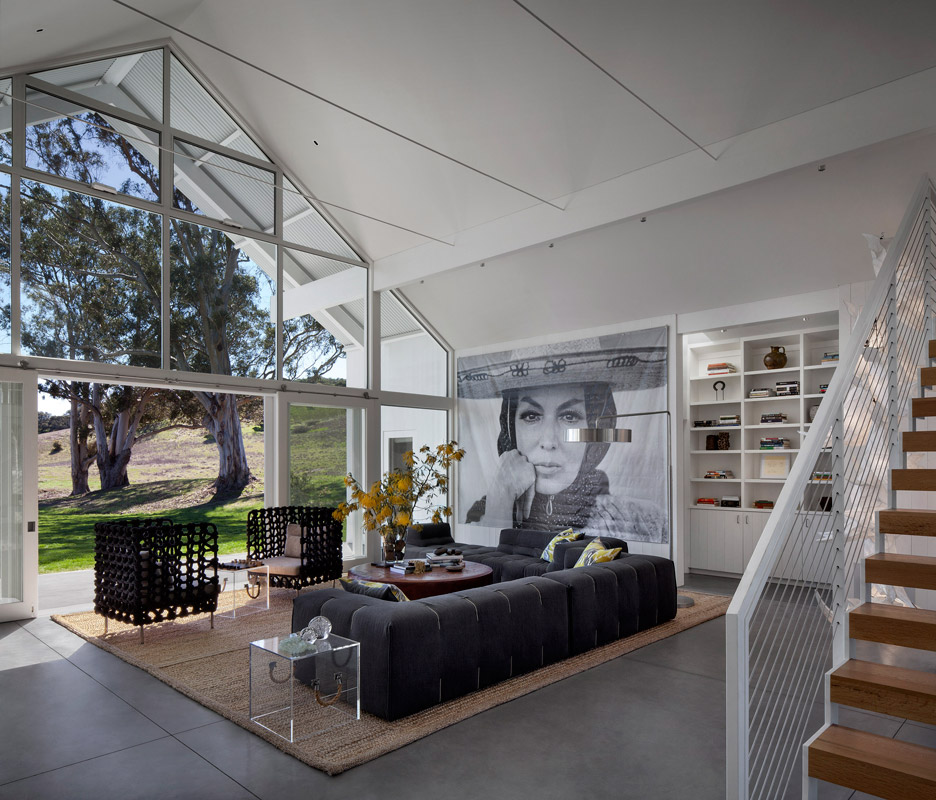 Picture Of white barn like house with modenr features  3