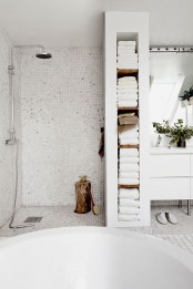 White Bathroom Appliances With Patterns And Textures