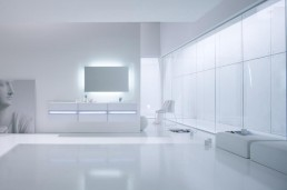 White Bathroom Furniture With Fluorescent Light Fixtures By Arlex Italia
