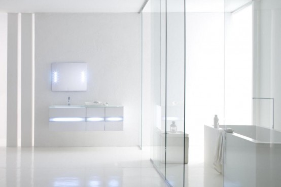 Vanity Fluorescent Lights Bathroom : White Bathroom Vanities With Fluorescent Light Fixtures By Arlex - DigsDigs