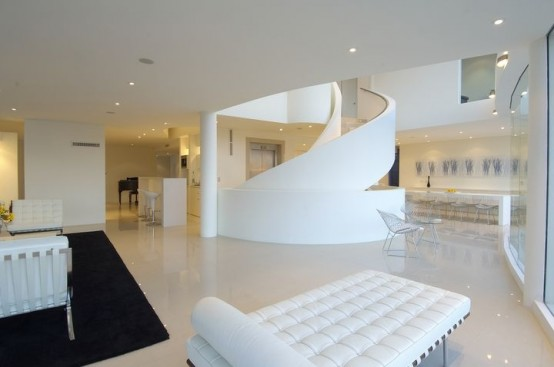 white black interior seafront house