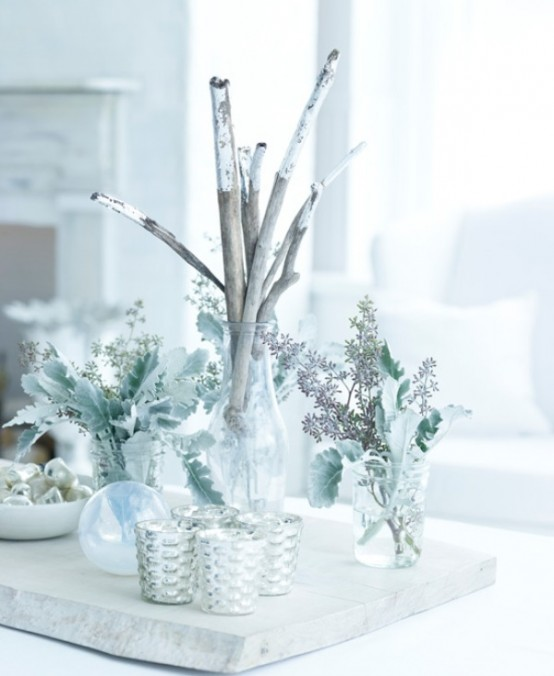white christmas decorations - Silver Christmas Table Decorations