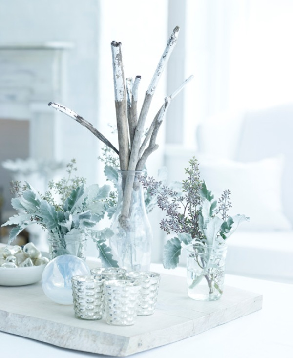 17 white and silver christmas decorations creating a White christmas centerpieces