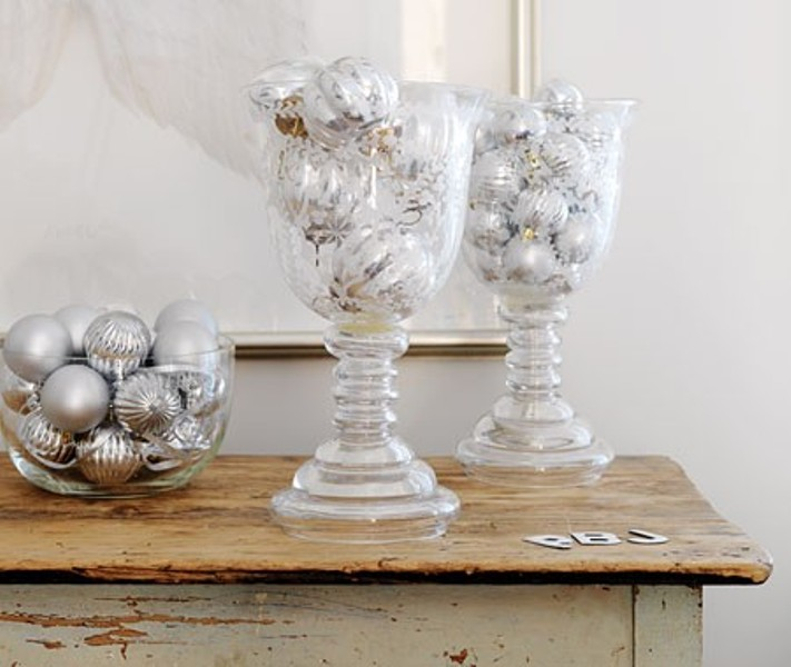 White and silver christmas decorations creating a