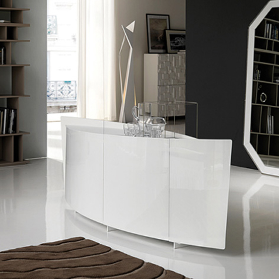 White Curved Sideboard