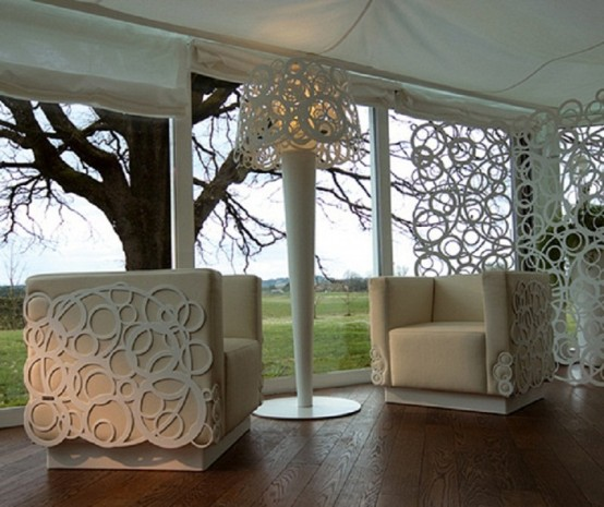 White Garden Furniture Of Recycled Materials