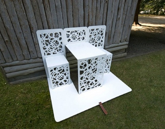 White Garden Furniture Of Recycled Materials Part 66