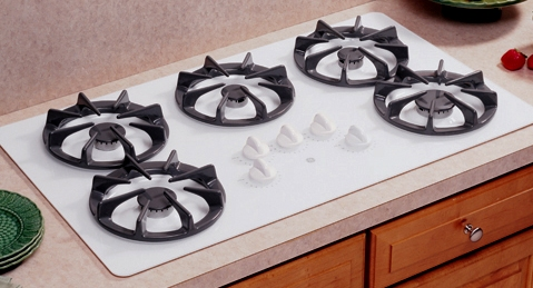 white gas cooktop ge